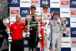 Race 1 Podium: second place Alexander Albon, Signature and winner Jake Dennis and third place Felix