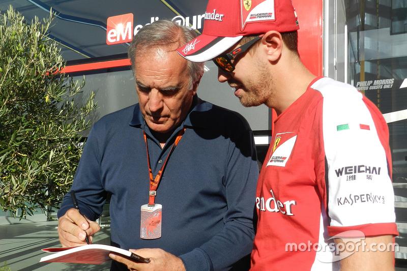 Giorgio Piola, Technischer Analyst für Motorsport.com in der Formel 1, mit Sebastian Vettel, Ferrari