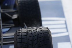 Water vapour rises from a hot Pirelli tyre
