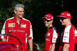 Maurizio Arrivabene, Ferrari, Team Principal avec Kimi Raikkonen, Ferrari et Sebastian Vettel, Ferrari