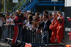 Race 1 Winner Emil Bernstorff, Arden International celebrates in Parc Ferme