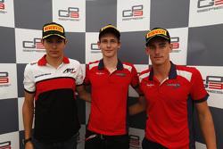 Race 1 persconferentie: 2de Esteban Ocon, ART Grand Prix, winnaar Emil Bernstorffen 3de Kevin Ceccon