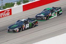 Kyle Busch, Joe Gibbs Racing Toyota and Kyle Larson, HScott Motorsports with Chip Ganassi