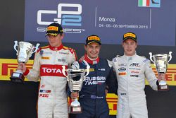 Race 2 Podium: second place Arthur Pic, Campos Racing and winner Mitch Evans, RUSSIAN TIME and third place Stoffel Vandoorne, ART Grand Prix
