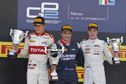 Podio gara 2: secondo Arthur Pic, Campos Racing, il vinictore Mitch Evans, RUSSIAN TIME e il terzo S