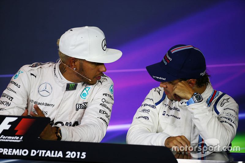 Lewis Hamilton, Mercedes AMG F1, und Felipe Massa, Williams, in der FIA-PK