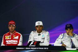 The post race FIA Press Conference (L to R): Sebastian Vettel, Ferrari, second, Lewis Hamilton, Mercedes AMG F1, race winner, Felipe Massa, Williams, third