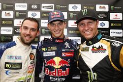 Podium : Le vainqueur Timmy Hansen, Team Peugeot-Hansen, le deuxième Petter Solberg, SDRX Citroën DS3 RX, et le troisième Jean-Baptiste Dubourg