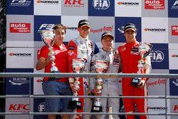 Race 3 Podium: second place Jake Dennis and winner Felix Rosenqvist and third place Lance Stroll, Prema Powerteam