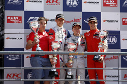 Race 3 Podium: second place Jake Dennis and winner Felix Rosenqvist and third place Lance Stroll, Pr