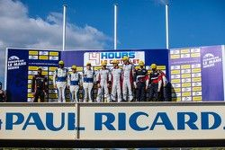 Podium: race winners Simon Dolan, Filipe Albuquerque, Harry Tincknell, second place Gary Hirsch, Bjorn Wirdheim, Jon Lancaster, third place Mikhail Aleshin, Kirill Ladygin, Anton Ladygin