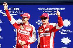 Tweede tijd Sebastian Vettel, derde tijd Kimi Raikkonen, Ferrari