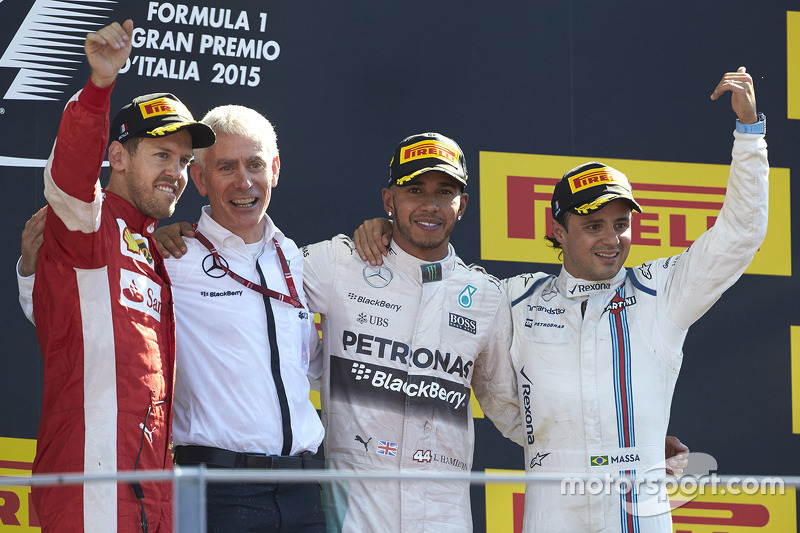 Podium: winner Lewis Hamilton, Mercedes AMG F1, second place Sebastian Vettel, Ferrari, third place Felipe Massa, Williams