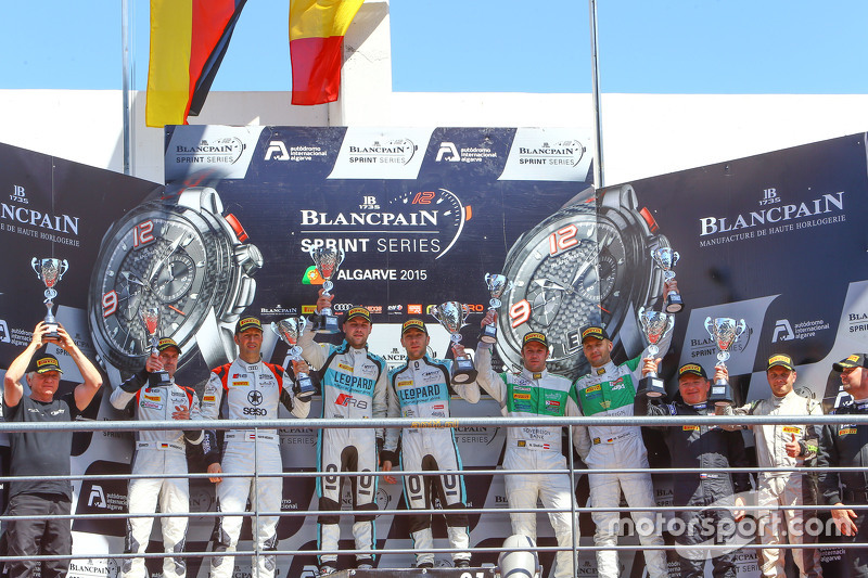 Podium: winners Laurens Vanthoor, Robin Frijns, second place Markus Winkelhock, Niki Mayr-Melnhof, t