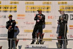 Colin Turkington, Jason Plato and Tom Ingram celebrate on the podium