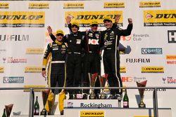 Race 3, Round 24 Podium 1st Jason Plato, 2nd Tom Ingram, 3rd Colin Turkington and JST Winner Josh Cook