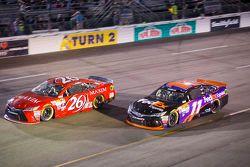 J.J. Yeley, BK Racing Toyota and Denny Hamlin, Joe Gibbs Racing Toyota