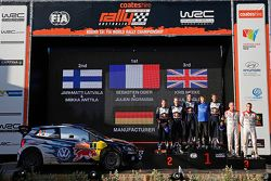 Podium: winners and 2015 WRC champions Sébastien Ogier and Julien Ingrassia, second place Jari-Matti
