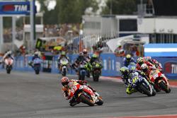 Marc Marquez, Repsol Honda Team e Valentino Rossi, Yamaha Factory Racing e Dani Pedrosa, Repsol Hond