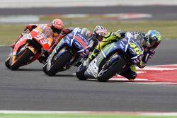 Valentino Rossi et Jorge Lorenzo, Yamaha Factory Racing, et Marc Marquez, Repsol Honda Team
