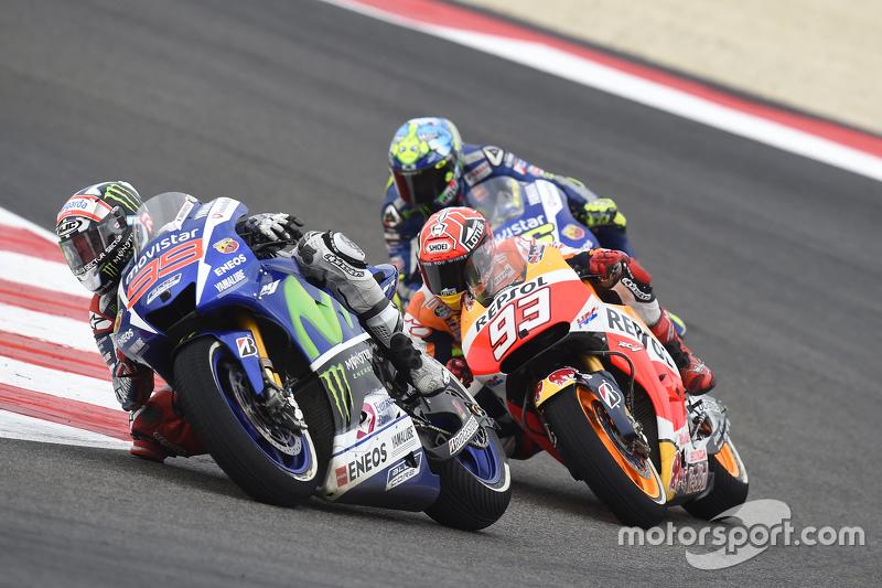 Jorge Lorenzo, Yamaha Factory Racing; Marc Marquez, Repsol Honda Team, und Valentino Rossi, Yamaha Factory Racing