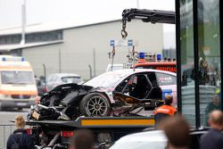 The car of Lucas Auer, ART Grand Prix Mercedes-AMG C63 DTM after the crash