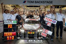 Tom Blomqvist, BMW Team RBM BMW M4 DTM celebrate his victory with the team