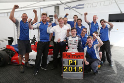 Race 2 winner Will Palmer, HHC Motorsport celebrates his victory with his team