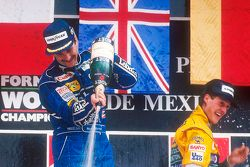 1. Nigel Mansell, Williams, 3. Michael Schumacher, Benetton