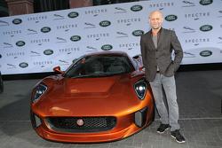 Juergen Vogel next to a Jaguar C-X75 during the presentation of the Jaguar Land Rover vehicles starr