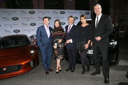 Gerry McGovern (Design Director Land Rover), Hannah Herzsprung, Dr. Ralf Speth - CEO Jaguar Land Rover, Anja Kling and Peter Modelhart Director Jaguar Land Rover Germany during the presentation of the Jaguar Land Rover vehicles starring in the new Bond film Spectre