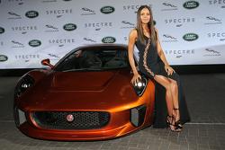 Naomi Harris ( James Bond Spectre, Miss Moneypenny )next to a Jaguar C-X75 during the presentation o