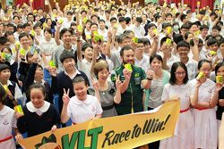 Darryl O'Young visits a secondary school to promote Race to Win