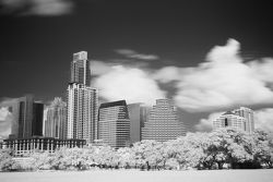 An infrared view of downtown Austin