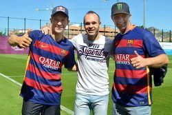 Mattias Ekström, EKS RX Audi S1 et Petter Solberg, SDRX Citroën DS3 RX avec le capitiane du FC Barcelona Andres Iniesta
