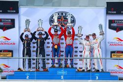 GS Podium: Race winners #6 Stevenson Motorsports Chevrolet Comaro Z/28.R: Andrew Davis, Robin Liddel