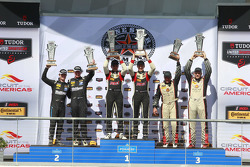 ST Podium: Race winners #17 RS1 Porsche Cayman: Spencer Pumpelly, Luis Rodriguez Jr., second place #