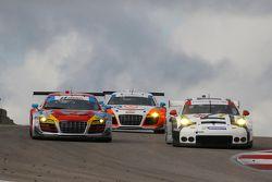 #48 Paul Miller Racing Audi R8 LMS: Christopher Haase, Dion von Moltke and #911 Porsche North America Porsche 911 RSR: Patrick Pilet, Nick Tandy