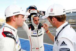 Polesitters Marc Lieb, Neel Jani and Romain Dumas, Porsche Team
