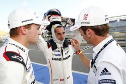 Les polemen Marc Lieb, Neel Jani et Romain Dumas, Porsche Team
