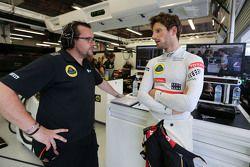 Julien Simon-Chautemps, Romain Grosjean race engineer, Lotus F1 Team and Romain Grosjean, Lotus F1 T