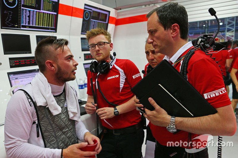 Will Stevens, Manor F1 Team with Gianluca Pisanello, Manor F1 Team Chief Engineer