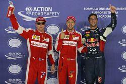 Ganador de la pole Sebastian Vettel, de Ferrari, el segundo lugar Daniel Ricciardo, de Red Bull Raci