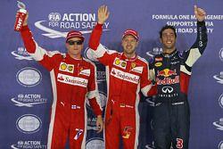 Ganador de la pole de Sebastian Vettel, de Ferrari, el segundo lugar Daniel Ricciardo, de Red Bull R