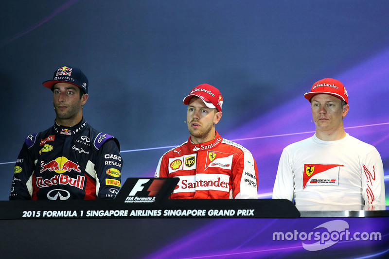 Press conference: Polesitter Sebastian Vettel, Ferrari, second place Daniel Ricciardo, Red Bull Racing, third place Kimi Raikkonen, Ferrari
