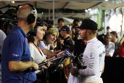 Lewis Hamilton, Mercedes AMG F1 with Lee McKenzie, BBC Television Reporter