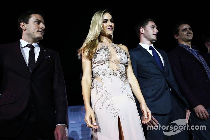 Fabio Leimer, Pilote d'essais et de réserve Manor F1 Team, Carmen Jorda, Pilote de Développement Lotus F1 Team, Stoffel Vandoorne, Pilote d'essais et de réserve McLaren, Esteban Gutierrez, Pilote d'essais et de réserve Ferrari à l'Amber Lounge Fashion Show