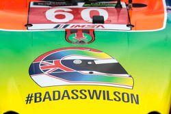 Schema cromatico in onore di Justin Wilson sulla vettura #60 Michael Shank Racing con Curb/Agajanian Ligier JS P2 Honda: John Pew, Oswaldo Negri Jr.