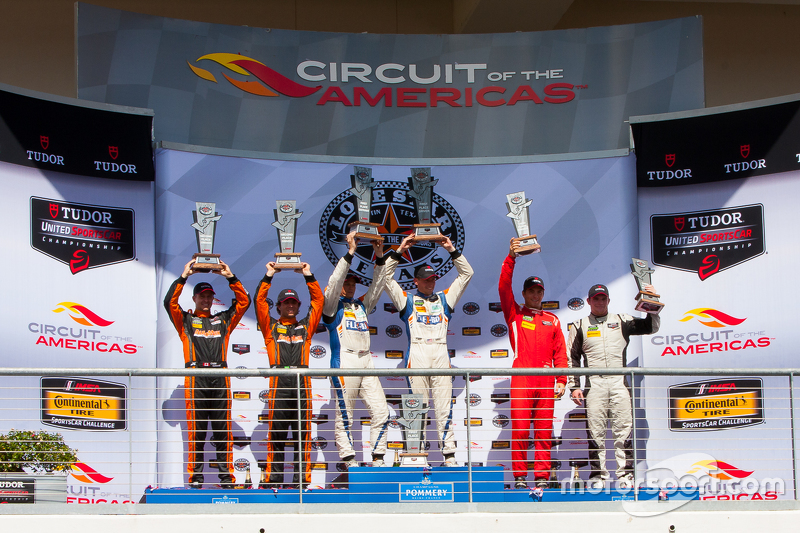 PC podium: Race winners #54 CORE autosport Oreca FLM09: Jon Bennett, Colin Braun, second place #11 RSR Racing Oreca FLM09 Chevrolet: Chris Cumming, Bruno Junqueira, third place #38 Performance Tech Motorsports ORECA FLM09: James French, Conor Daly