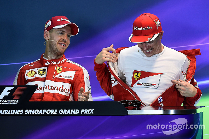 Post qualifying press conference: polesitter Sebastian Vettel, Ferrari and third place Kimi Raikkonen, Ferrari